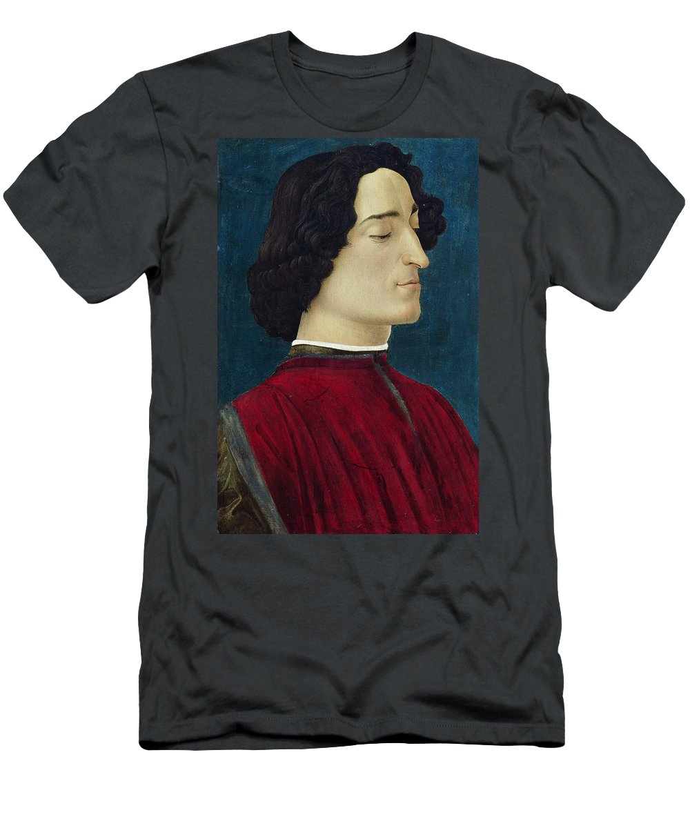 Sandro Botticelli Men's T-Shirt (Athletic Fit) featuring the painting Portrait Of Giuliano De' Medici by Sandro Botticelli