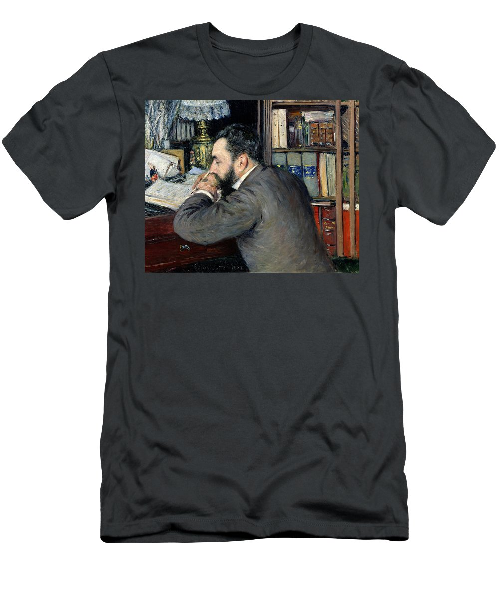 Gustave Caillebotte Men's T-Shirt (Athletic Fit) featuring the painting Portrait Of Henri Cordier by Gustave Caillebotte