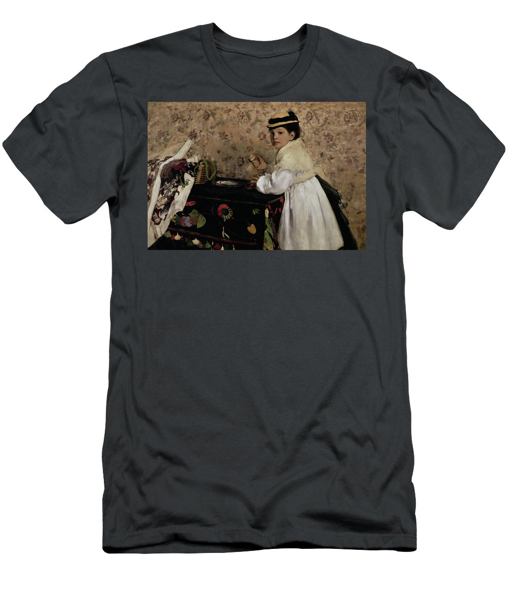 Portrait Of Hortense Valpincon As A Child Men's T-Shirt (Athletic Fit) featuring the painting Portrait Of Hortense Valpincon As A Child by Edgar Degas