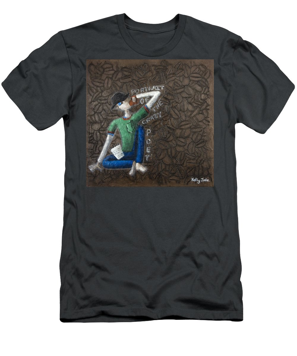 Portrait Men's T-Shirt (Athletic Fit) featuring the painting Portrait Of The Crazy Poet by Kelly Jade King