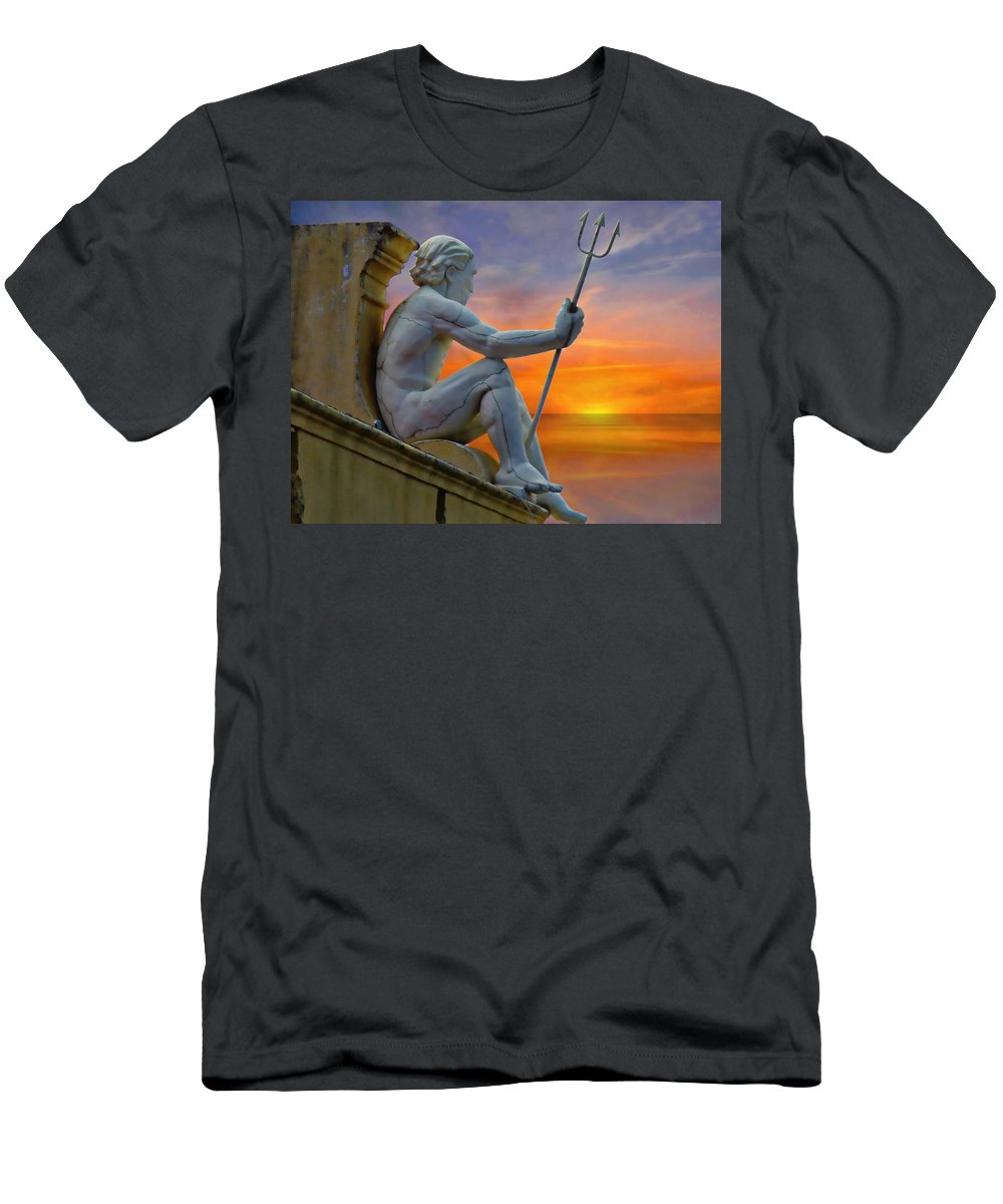 Ancient Men's T-Shirt (Athletic Fit) featuring the photograph Poseidon - God Of The Sea by Anthony Dezenzio