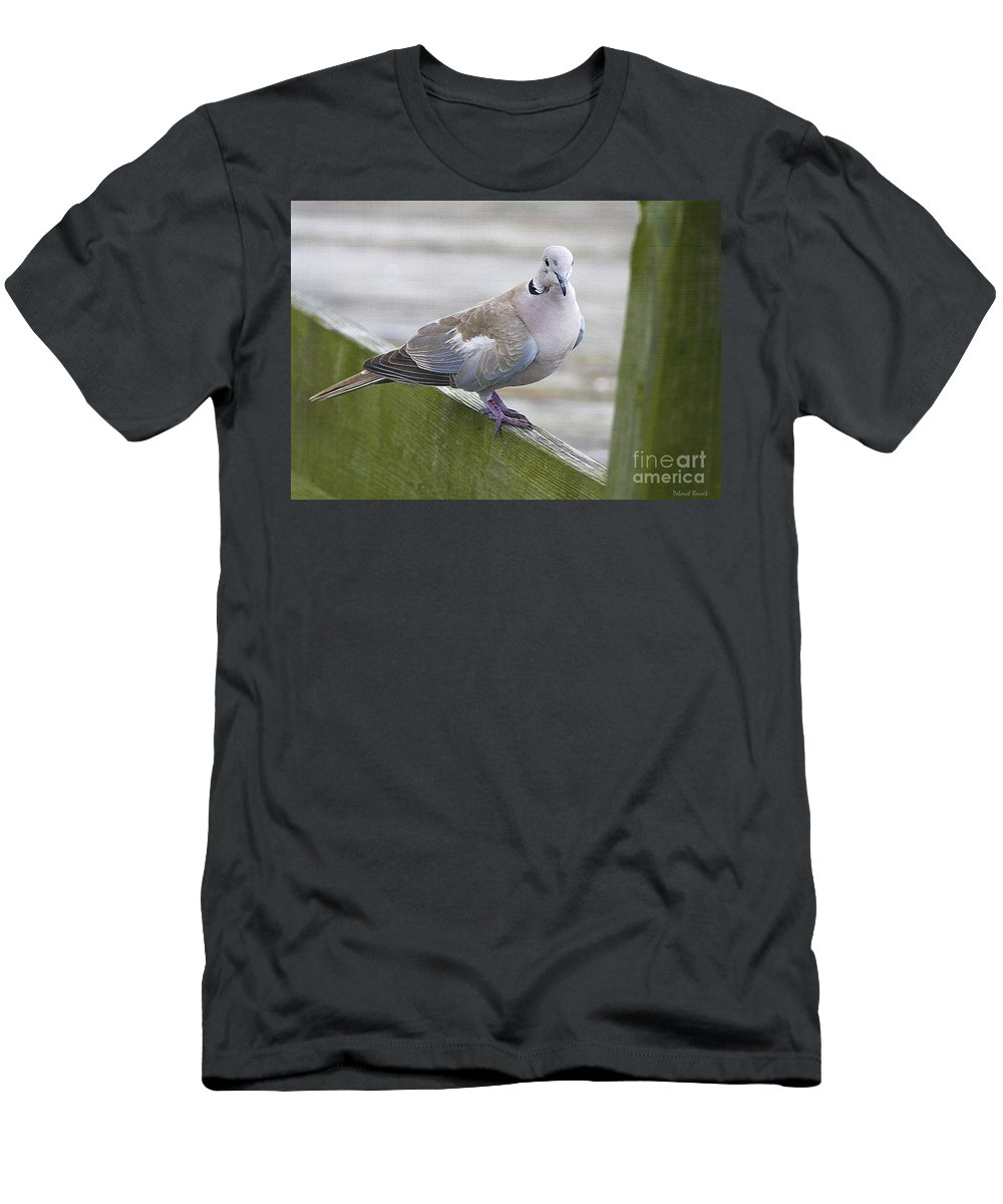 Bird Men's T-Shirt (Athletic Fit) featuring the photograph Posing On The Fence by Deborah Benoit