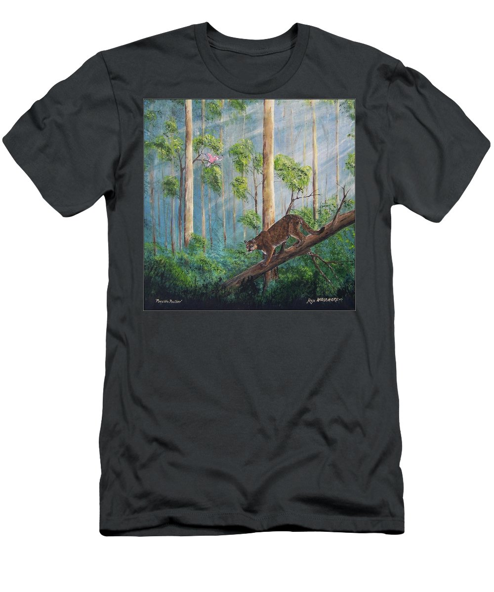#artwork Men's T-Shirt (Athletic Fit) featuring the painting Possible Panther by Rex Woodmore