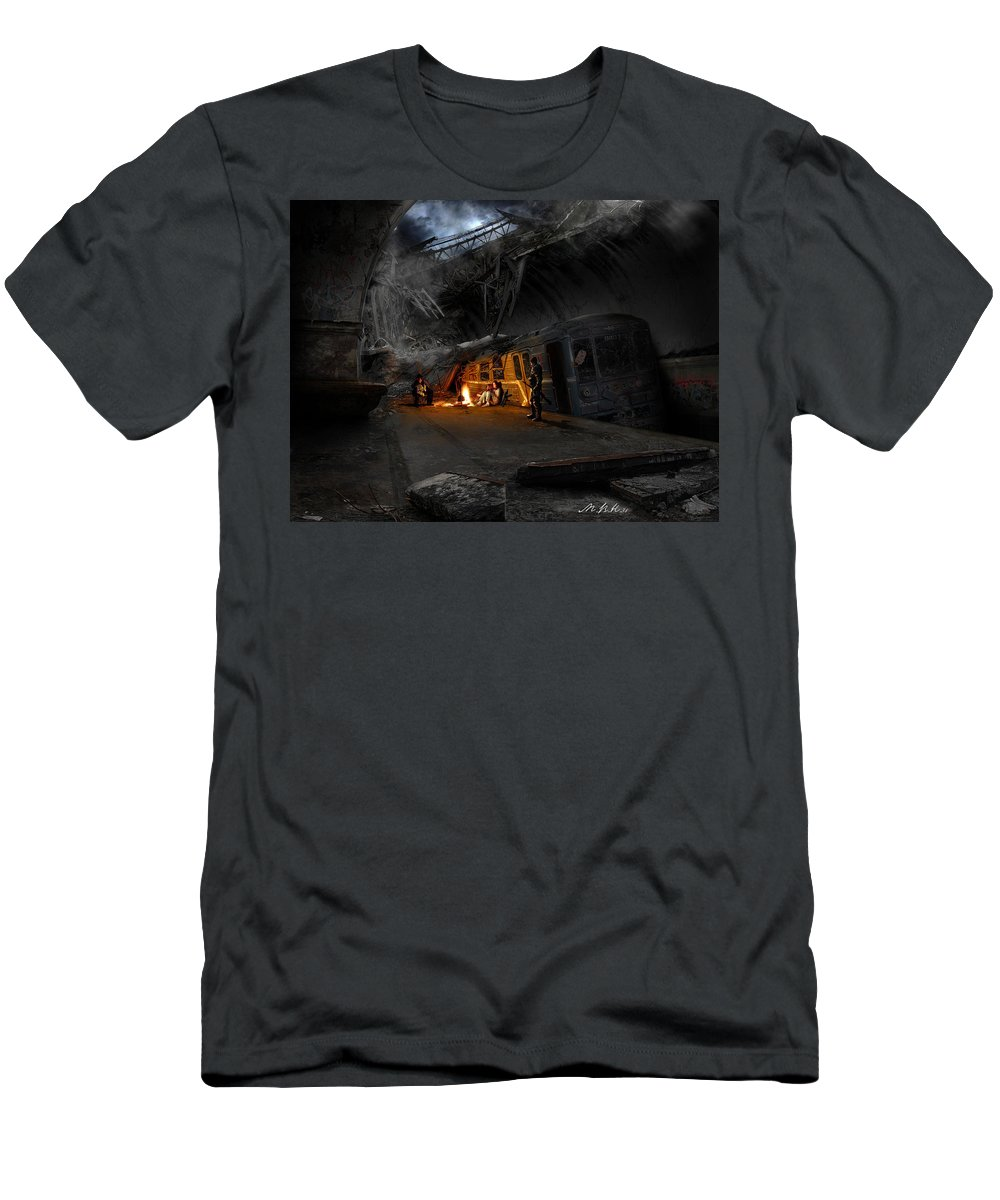 Post Apocalyptic Men's T-Shirt (Athletic Fit) featuring the digital art Post Apocalyptic by Dorothy Binder