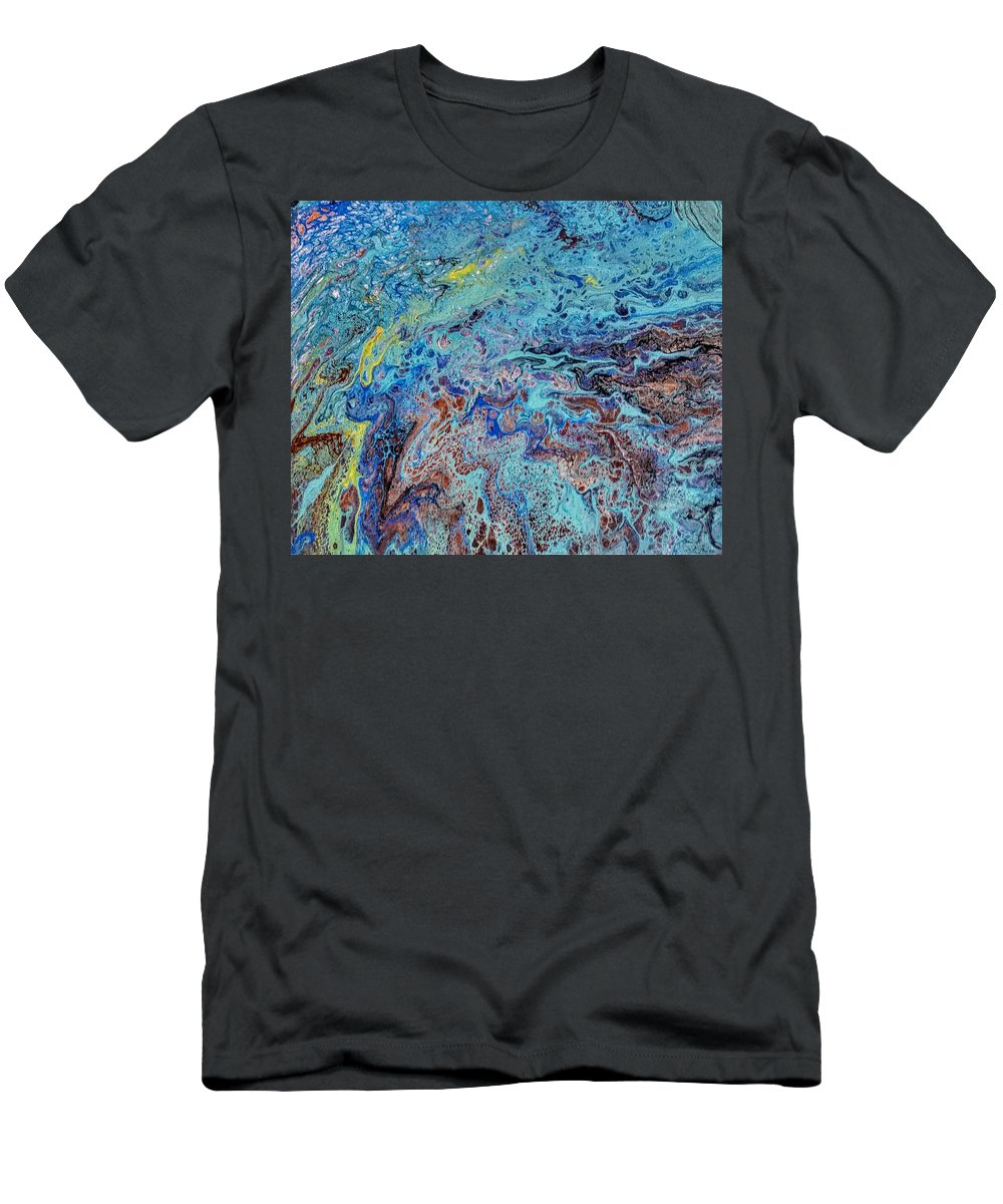 A Burst Of Color That Just Flows T-Shirt featuring the painting Pour1 by Valerie Josi