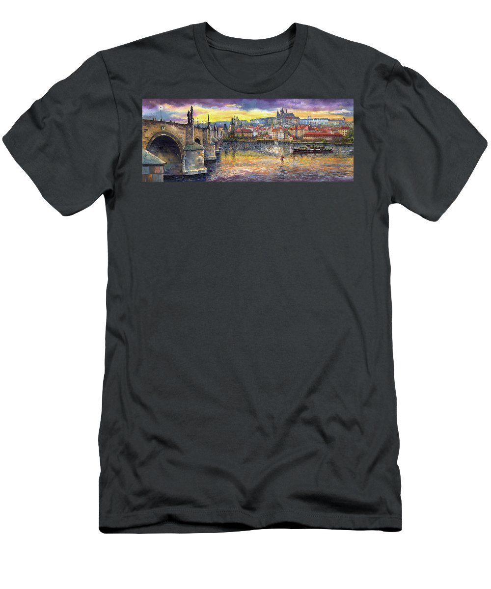Oil On Canvas T-Shirt featuring the painting Prague Charles Bridge and Prague Castle with the Vltava River 1 by Yuriy Shevchuk