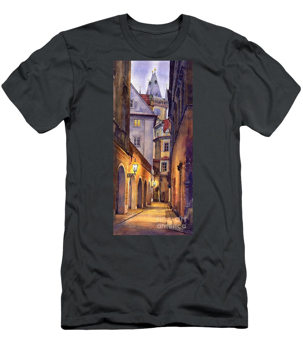 Cityscape Men's T-Shirt (Athletic Fit) featuring the painting Prague Old Street by Yuriy Shevchuk