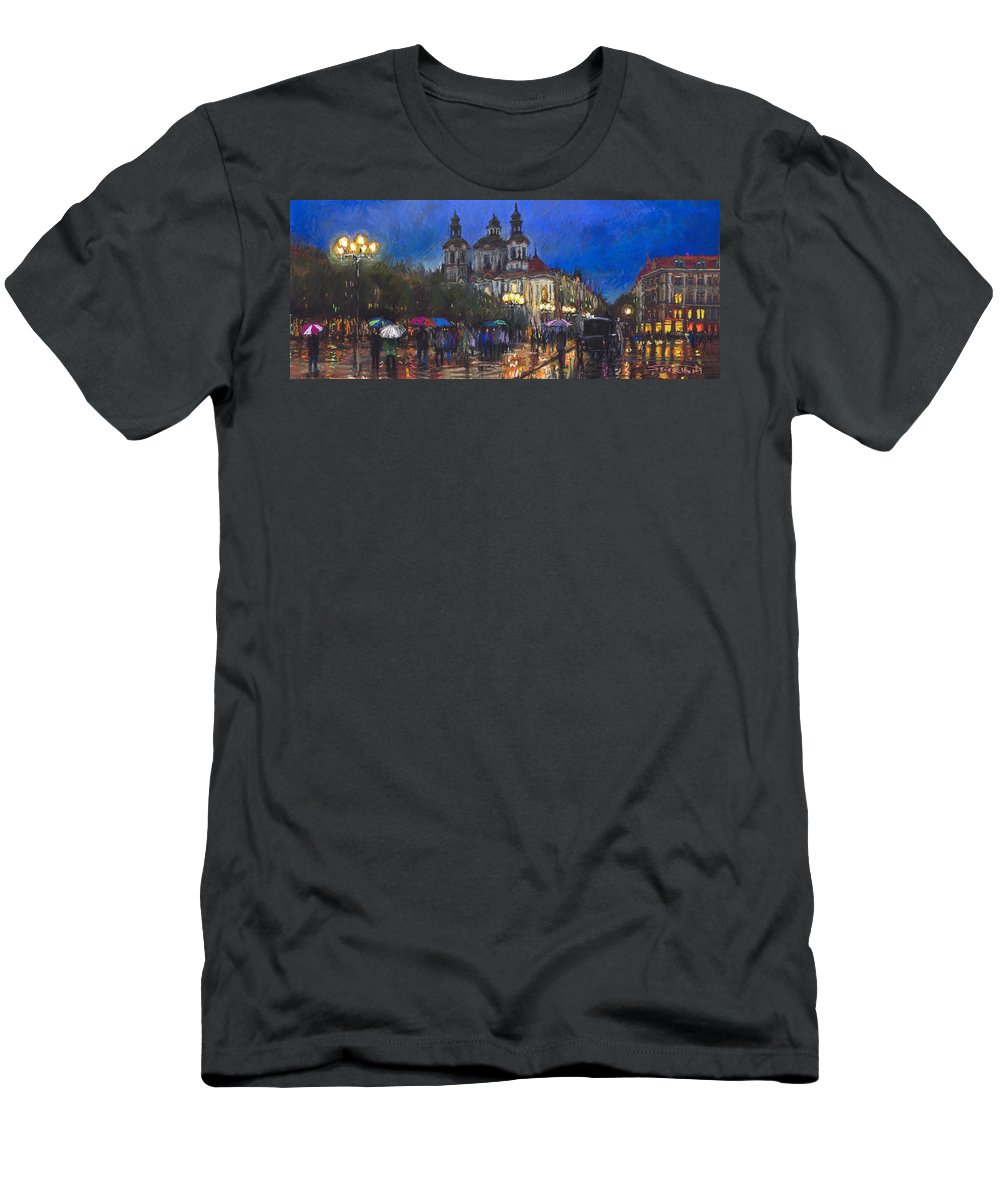 Prague Men's T-Shirt (Athletic Fit) featuring the pastel Prague Old Town Square St Nikolas Ch by Yuriy Shevchuk