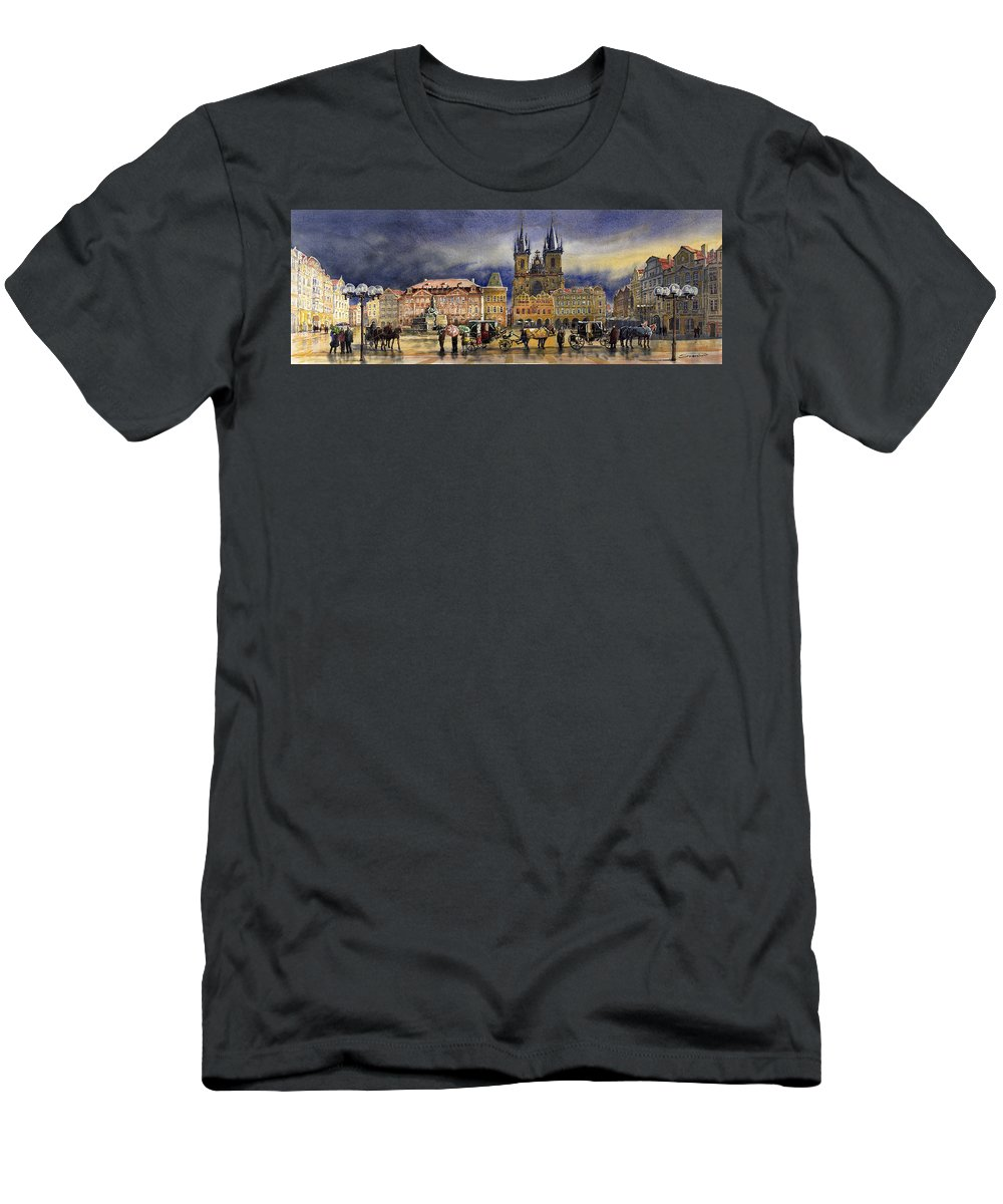 Watercolor Men's T-Shirt (Athletic Fit) featuring the painting Prague Old Town Squere After Rain by Yuriy Shevchuk
