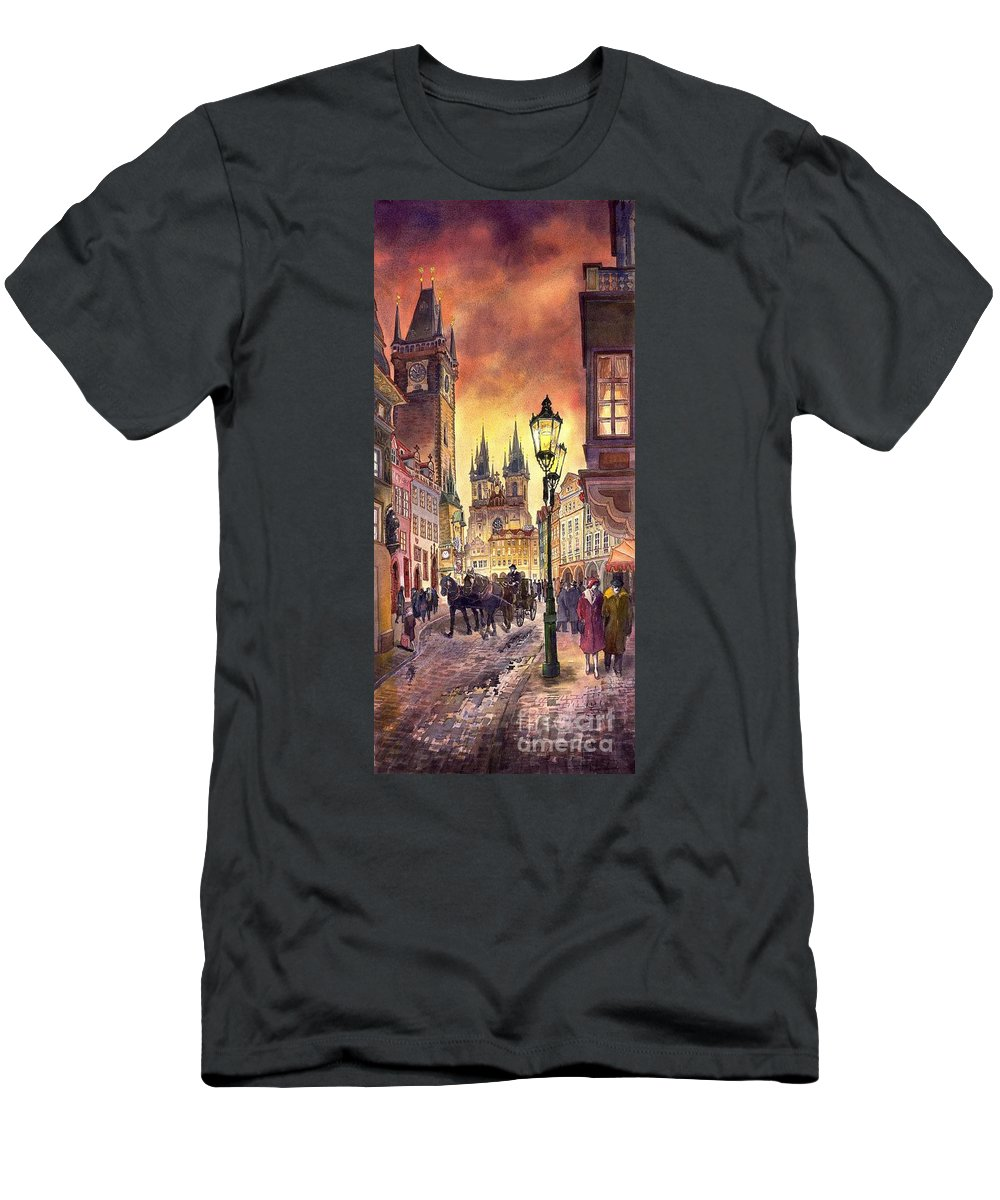Cityscape Men's T-Shirt (Athletic Fit) featuring the painting Prague Old Town Squere by Yuriy Shevchuk