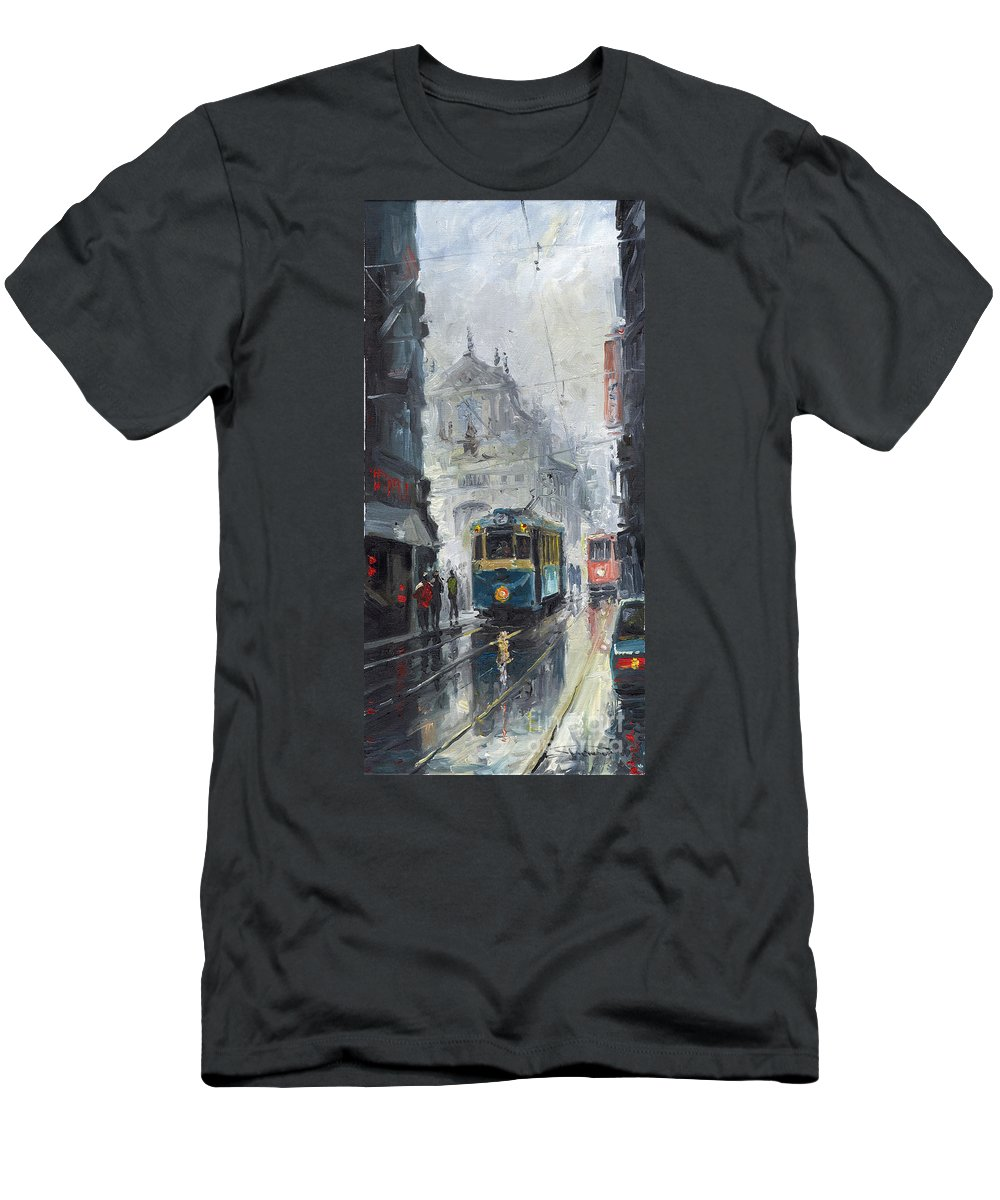 Oil On Canvas Men's T-Shirt (Athletic Fit) featuring the painting Prague Old Tram 04 by Yuriy Shevchuk