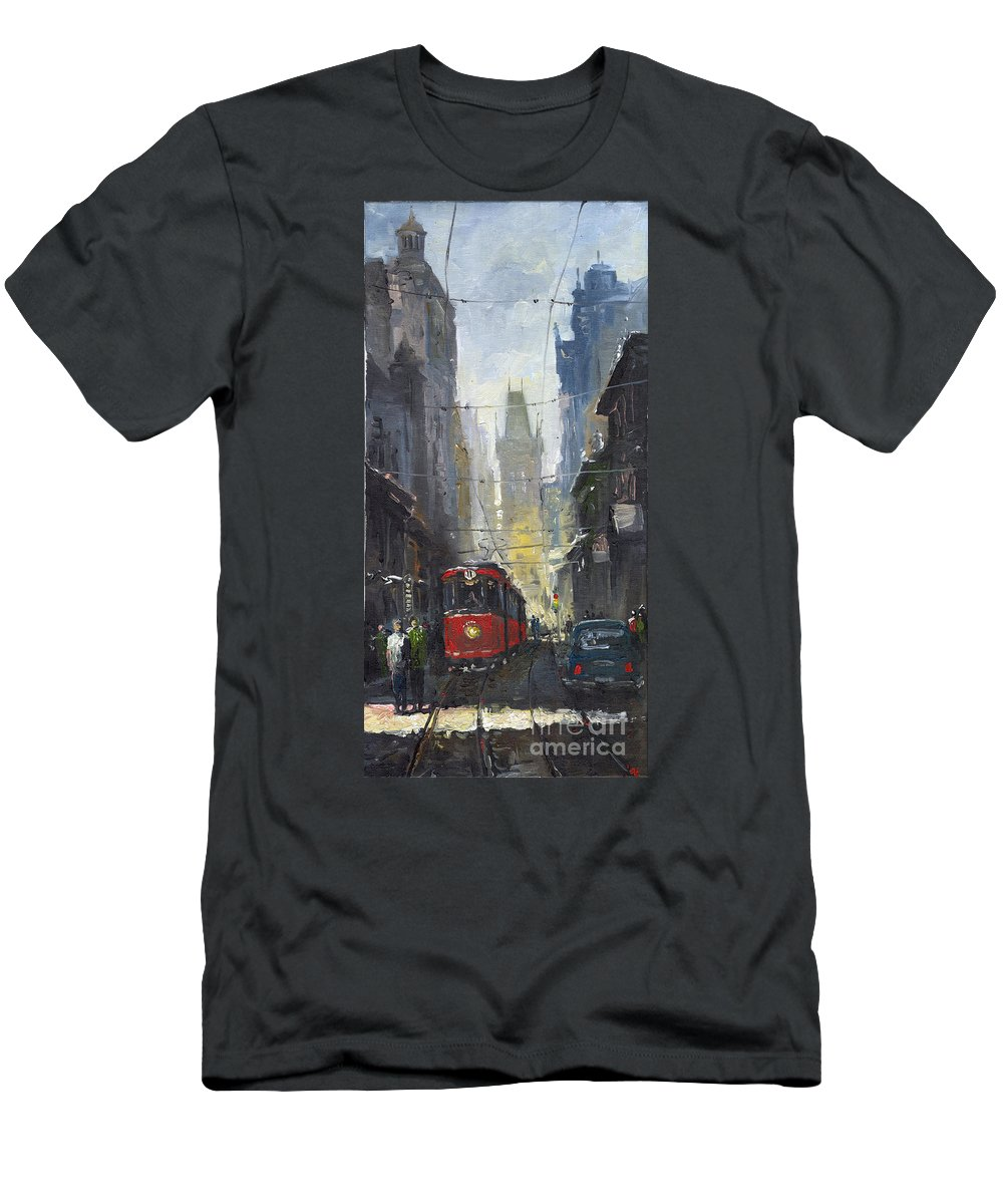 Oil On Canvas Paintings Men's T-Shirt (Athletic Fit) featuring the painting Prague Old Tram 05 by Yuriy Shevchuk