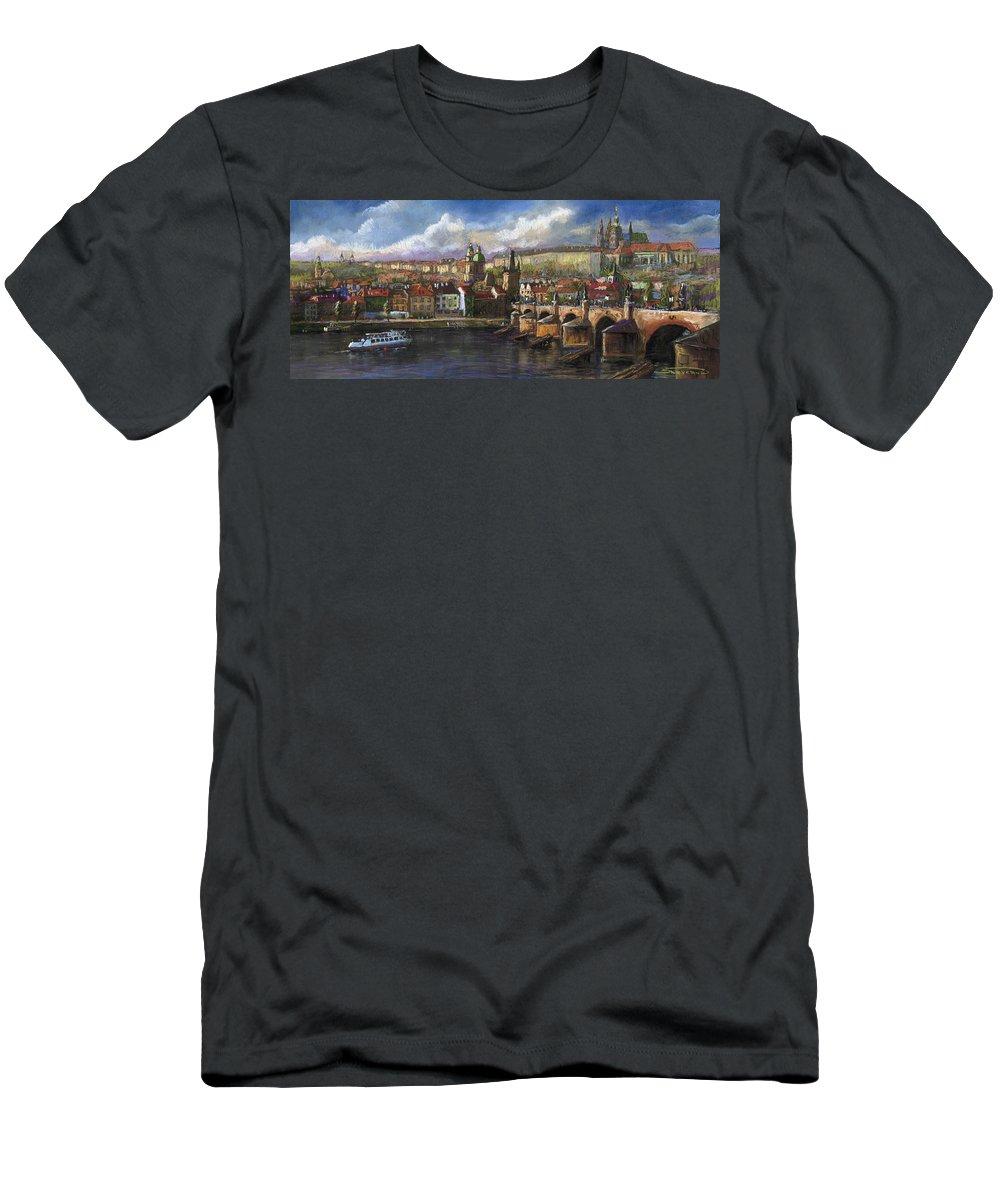Pastel Men's T-Shirt (Athletic Fit) featuring the painting Prague Panorama Charles Bridge Prague Castle by Yuriy Shevchuk