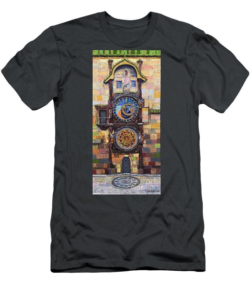 Cityscape Men's T-Shirt (Athletic Fit) featuring the painting Prague The Horologue At Oldtownhall by Yuriy Shevchuk