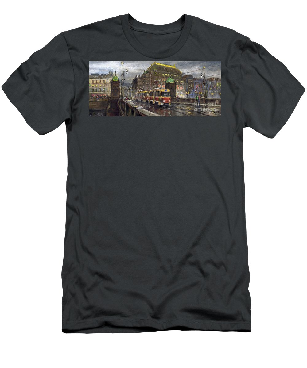 Prague Men's T-Shirt (Athletic Fit) featuring the painting Prague Tram Legii Bridge National Theatre by Yuriy Shevchuk