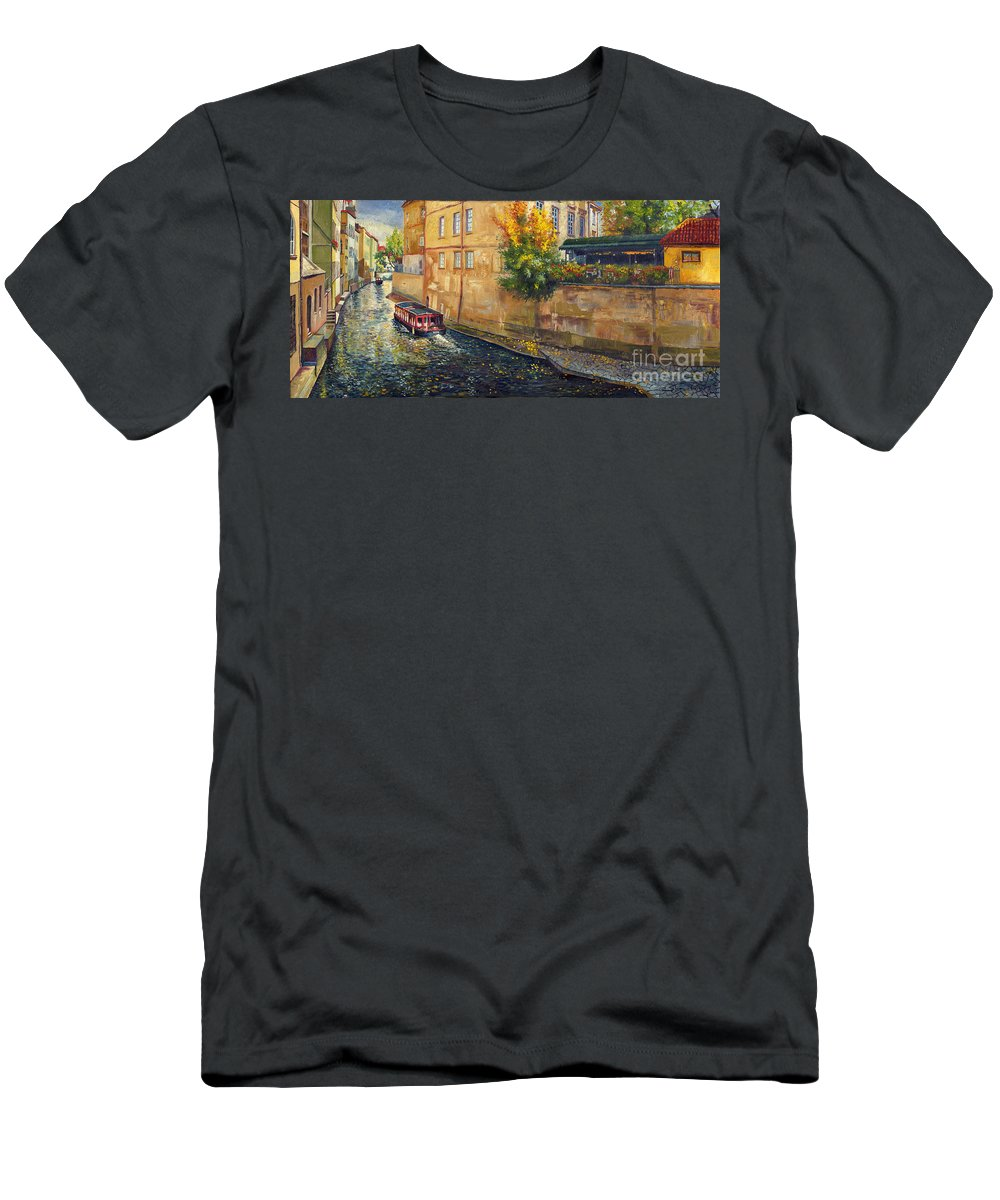 Oil.prague Men's T-Shirt (Athletic Fit) featuring the painting Prague Venice Chertovka 2 by Yuriy Shevchuk