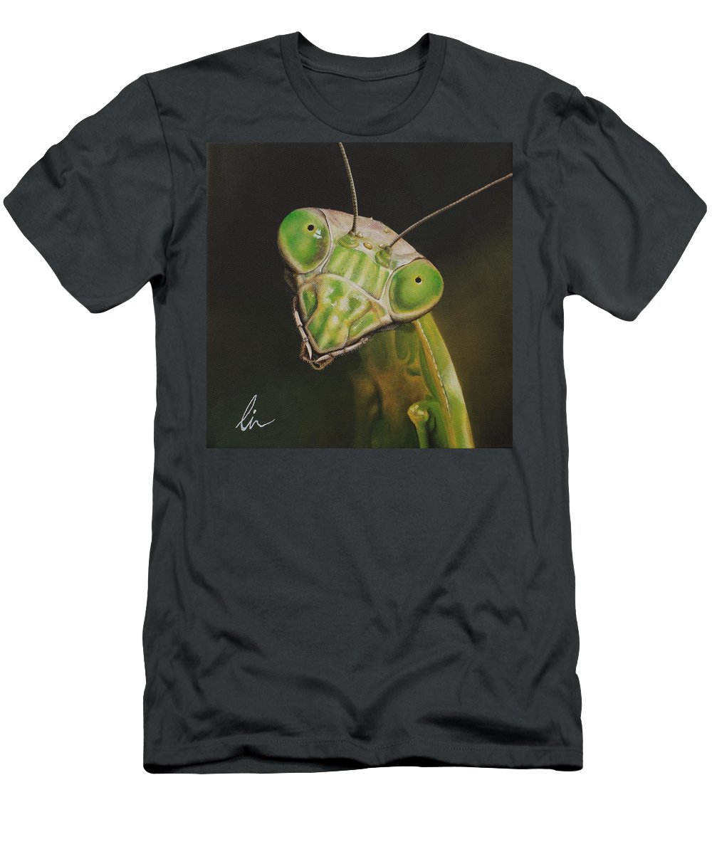 Praying Mantis Men's T-Shirt (Athletic Fit) featuring the painting Praying Mantis by Cindy D Chinn