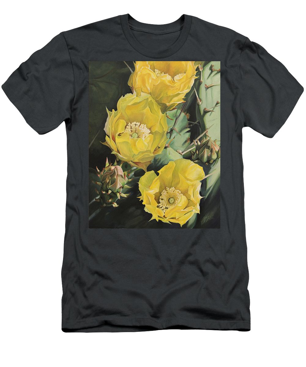Cactus Men's T-Shirt (Athletic Fit) featuring the painting Prickle Pear Cactus Flower Trio by Rebecca Zook