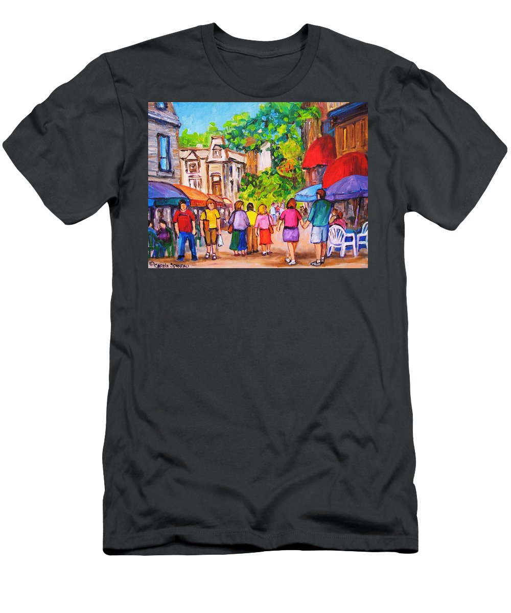 Rue Prince Arthur Montreal Street Scenes Men's T-Shirt (Athletic Fit) featuring the painting Prince Arthur Street Montreal by Carole Spandau