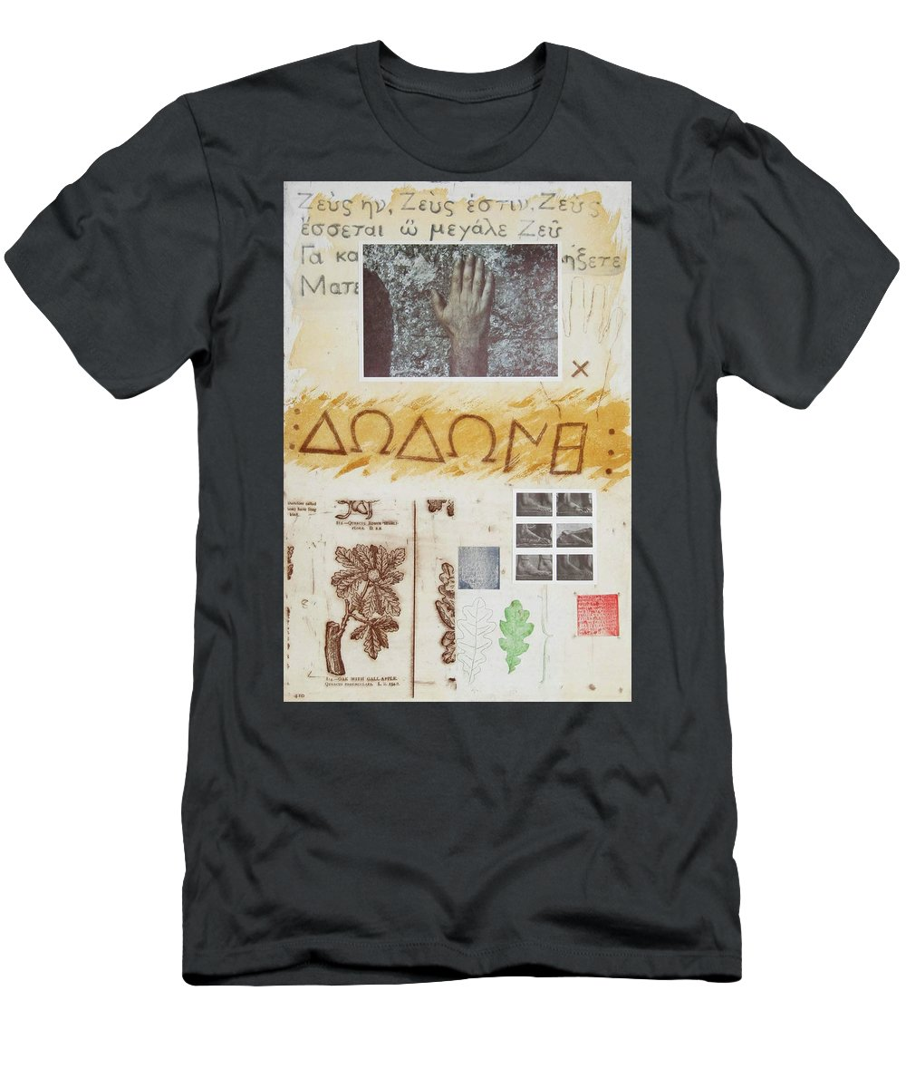 Tilson Men's T-Shirt (Athletic Fit) featuring the mixed media Procenemi Dodona, Oracle Of Zeus by Joe Tilson