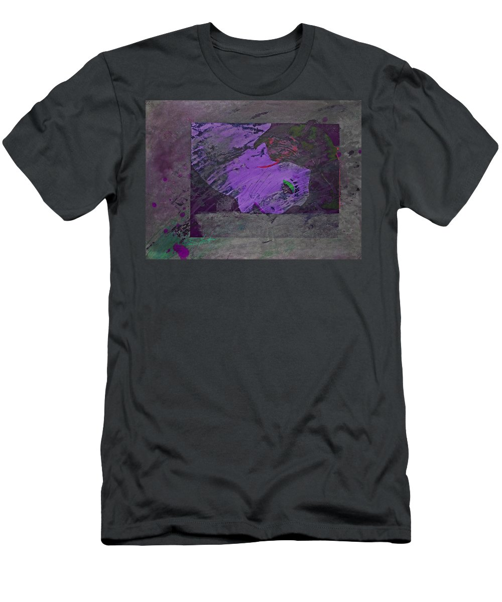 Psycho T-Shirt featuring the mixed media Psycho Warhol Deep Purple by Charles Stuart