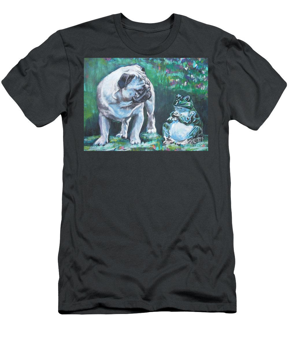 Dog Men's T-Shirt (Athletic Fit) featuring the painting Pug Fawn With Frog by Lee Ann Shepard