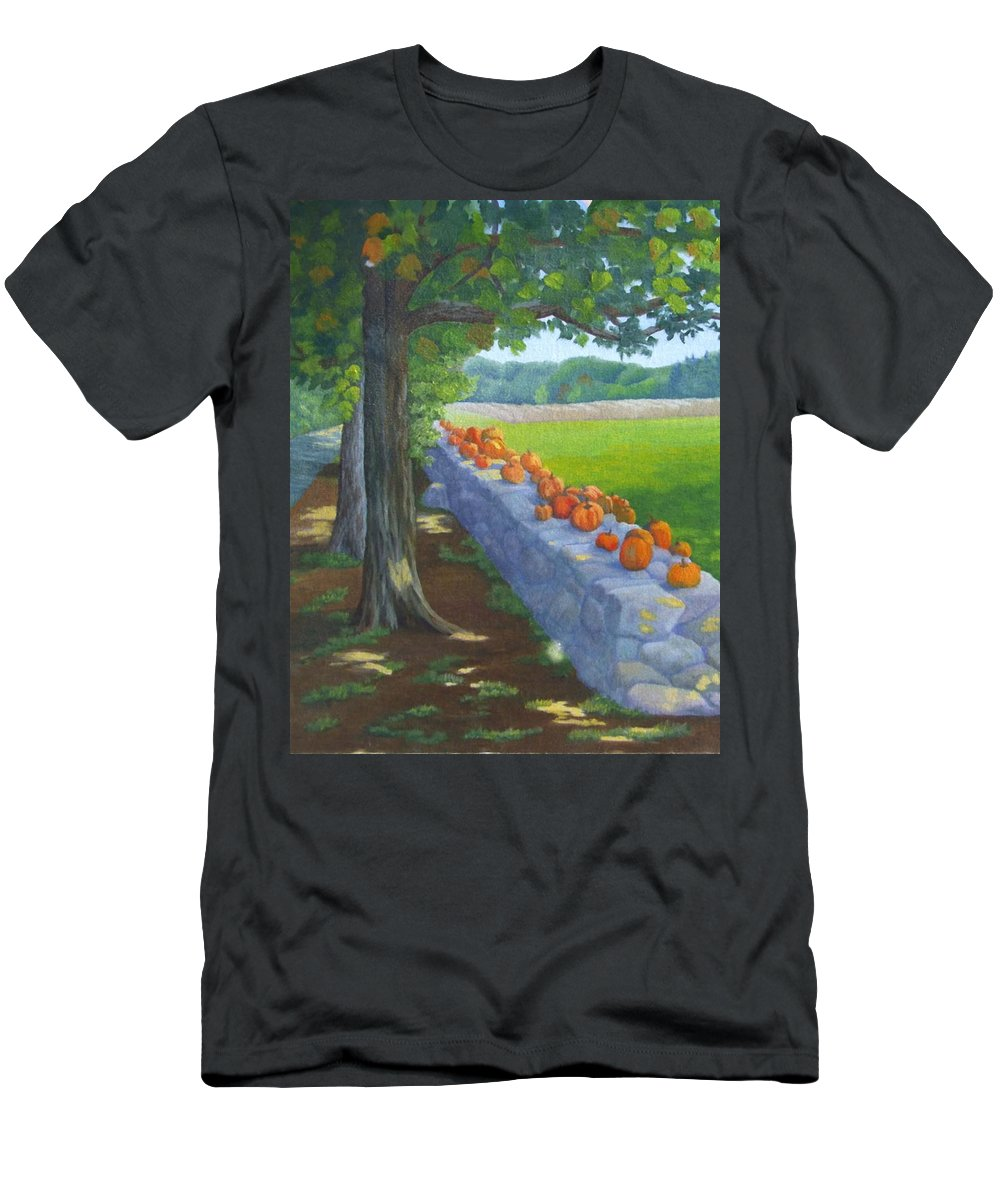 Pumpkins Men's T-Shirt (Athletic Fit) featuring the painting Pumpkin Muster by Sharon E Allen