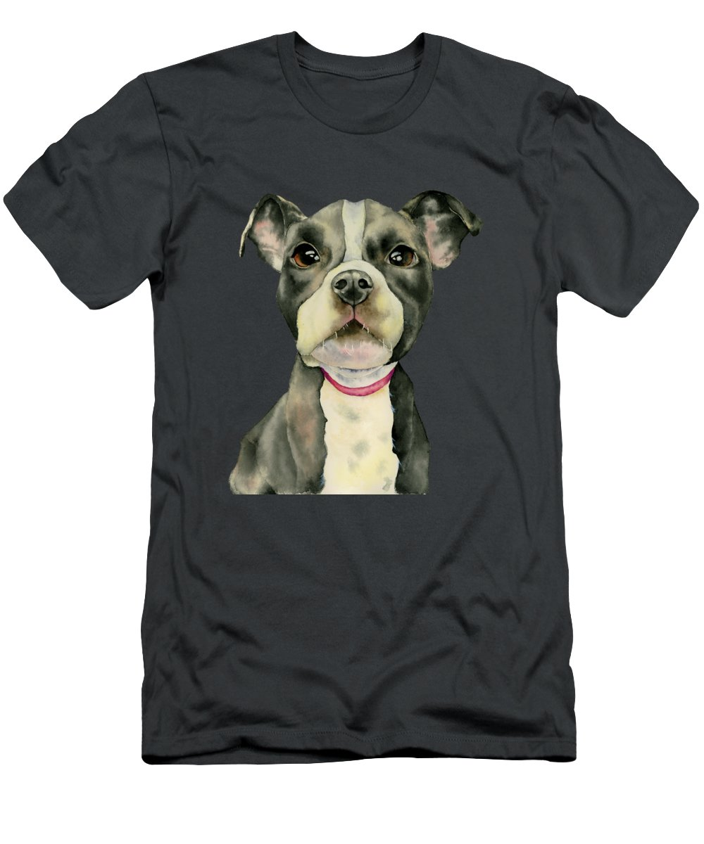 American Pit Bull Terrier Dog Men's T-Shirt (Athletic Fit) featuring the painting Puppy Eyes by NamiBear