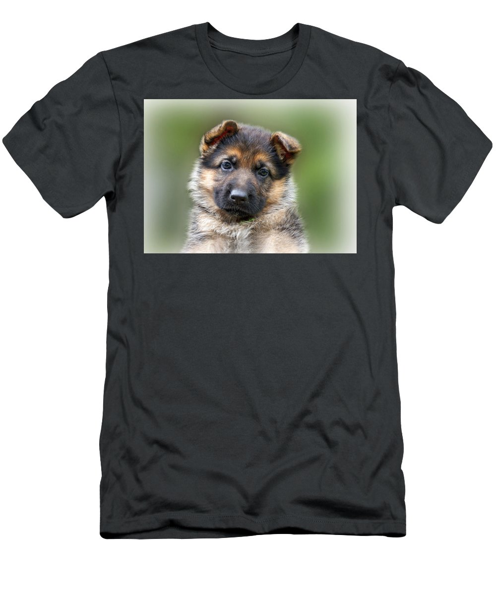 Puppies Men's T-Shirt (Athletic Fit) featuring the photograph Puppy Portrait by Sandy Keeton