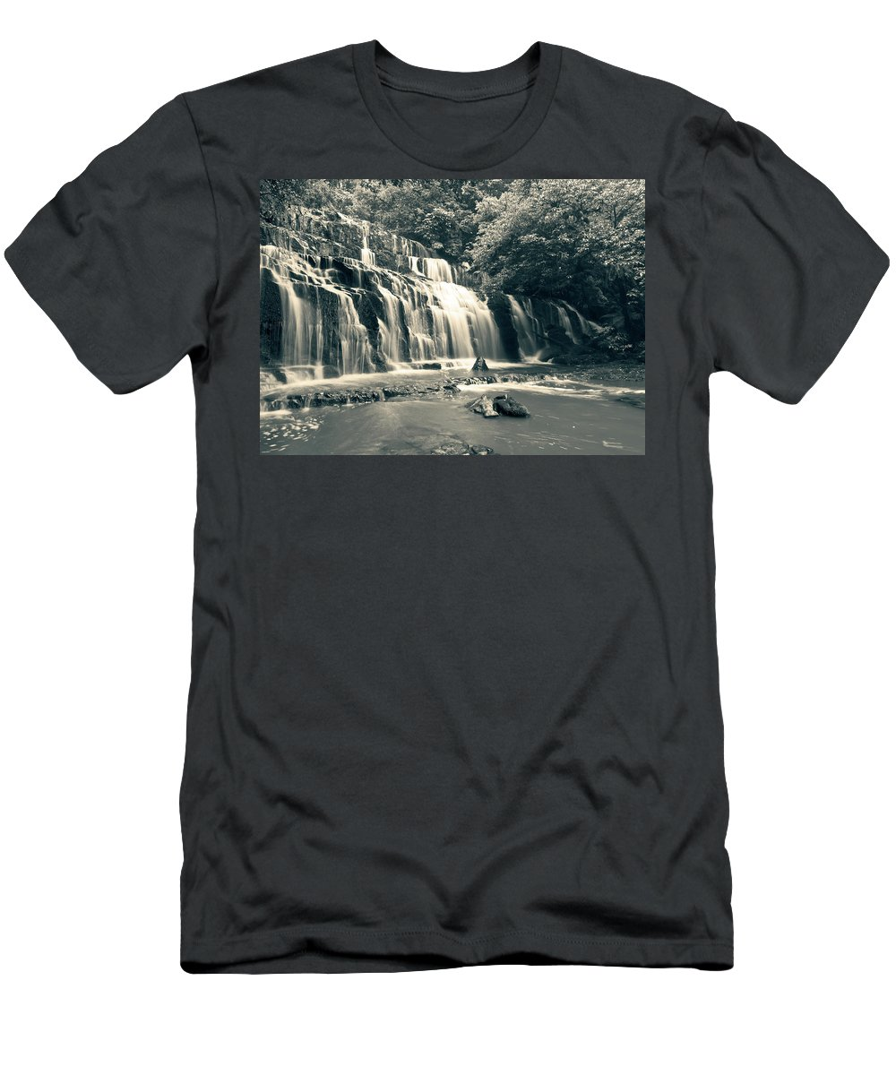 Purakanui Falls Men's T-Shirt (Athletic Fit) featuring the photograph Purakanui Falls New Zealand by U Schade
