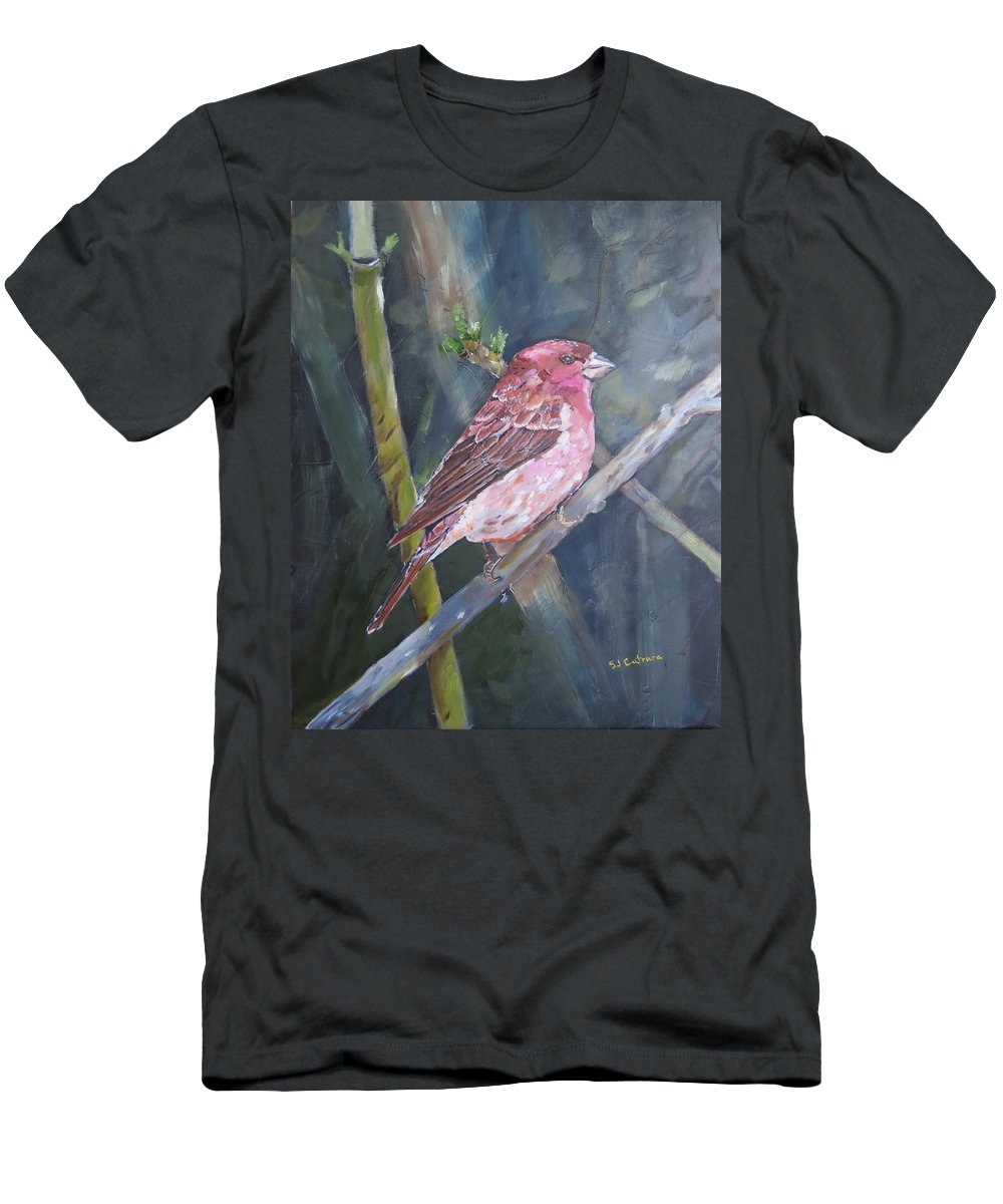 Birds Men's T-Shirt (Athletic Fit) featuring the painting Purple Finch by Sal Cutrara