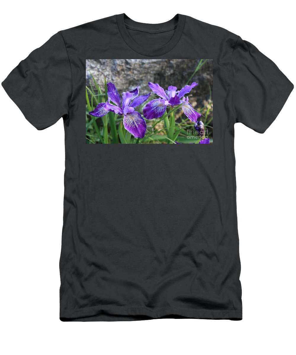 Purple Men's T-Shirt (Athletic Fit) featuring the photograph Purple Irises With Gray Rock by Carol Groenen