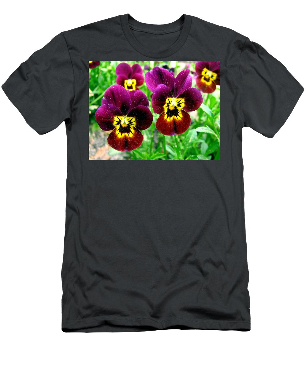 Pansies Men's T-Shirt (Athletic Fit) featuring the photograph Purple Pansies by J M Farris Photography