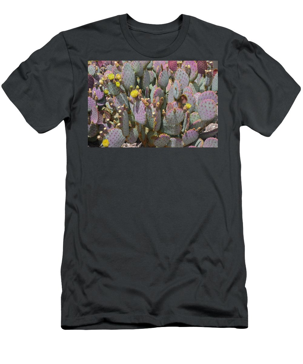Cactus Men's T-Shirt (Athletic Fit) featuring the photograph Purple Prickly Pear 1 by Aimee L Maher ALM GALLERY