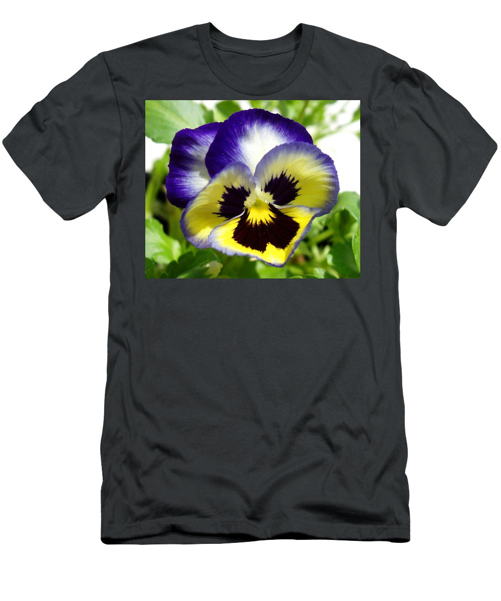 Pansy Men's T-Shirt (Athletic Fit) featuring the photograph Purple White And Yellow Pansy by Nancy Mueller