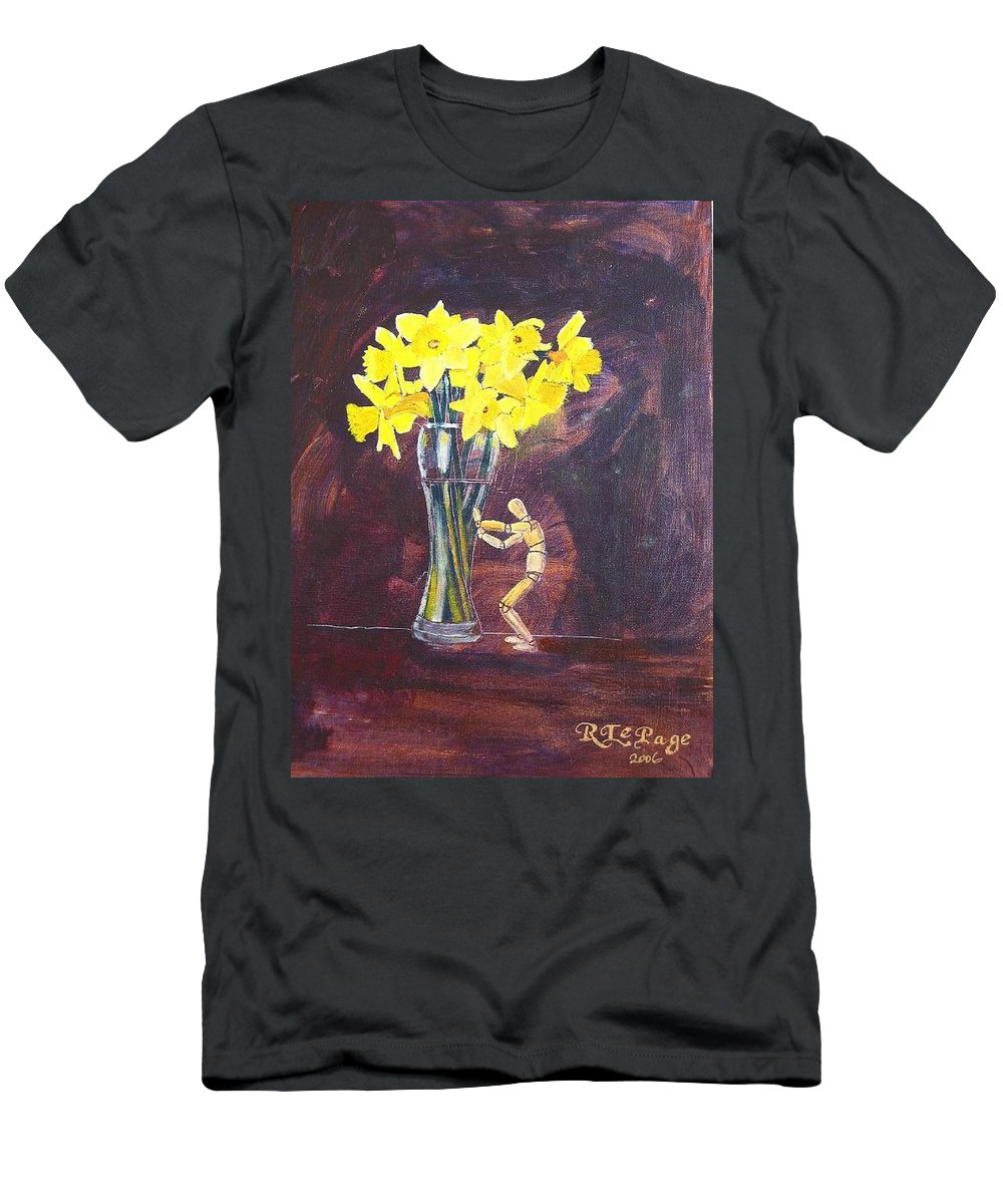 Flowers Men's T-Shirt (Athletic Fit) featuring the painting Push by Richard Le Page