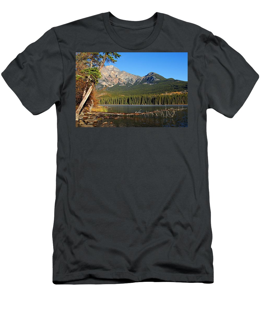 Pyramid Mountain Men's T-Shirt (Athletic Fit) featuring the photograph Pyramid Mountain In The Morning by Larry Ricker
