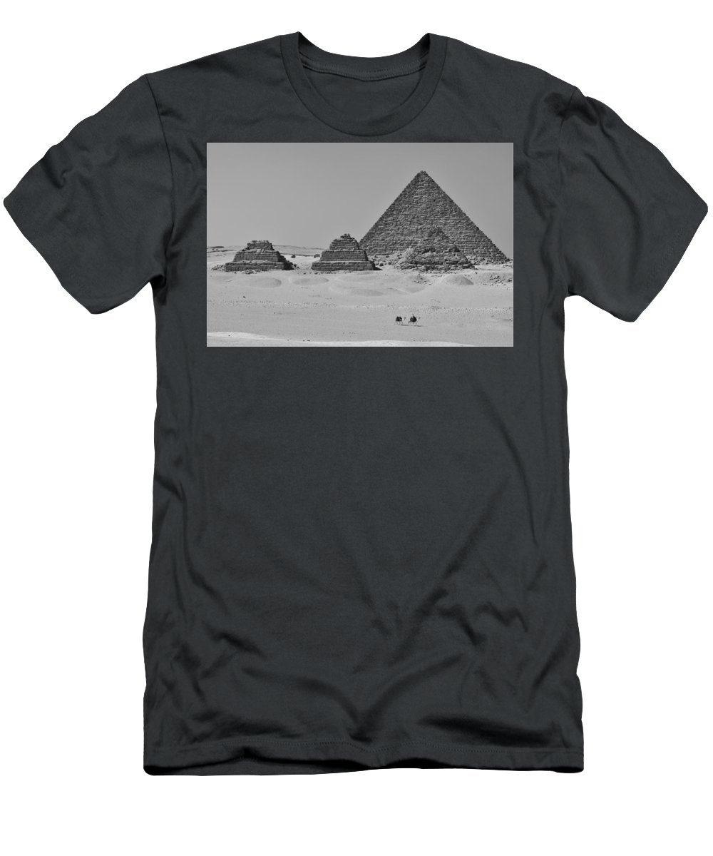 Egyptian Men's T-Shirt (Athletic Fit) featuring the photograph Pyramids At Giza by Dave Lees
