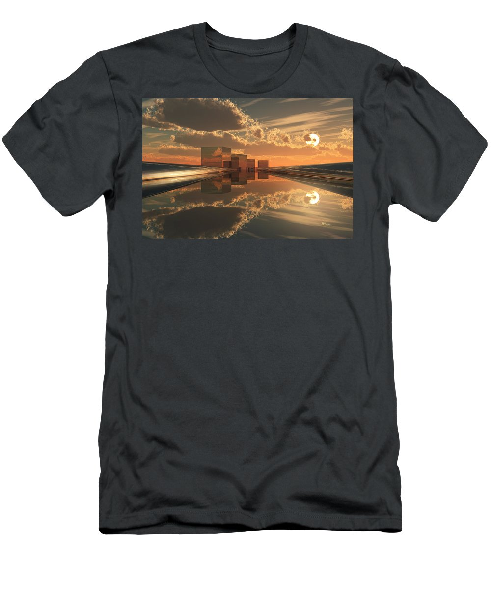 Abstractly Men's T-Shirt (Athletic Fit) featuring the digital art Q-city Five by Max Steinwald