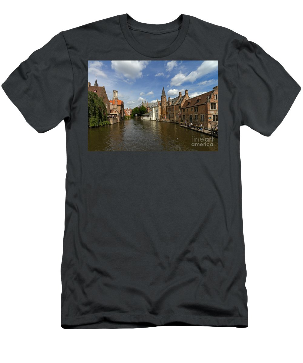 Quay Of The Rosary Men's T-Shirt (Athletic Fit) featuring the photograph Quay Of The Rosary In Bruges Belgium by Louise Heusinkveld