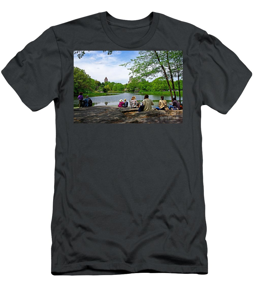 Central Park Men's T-Shirt (Athletic Fit) featuring the photograph Quiet Moment In Central Park by Zal Latzkovich