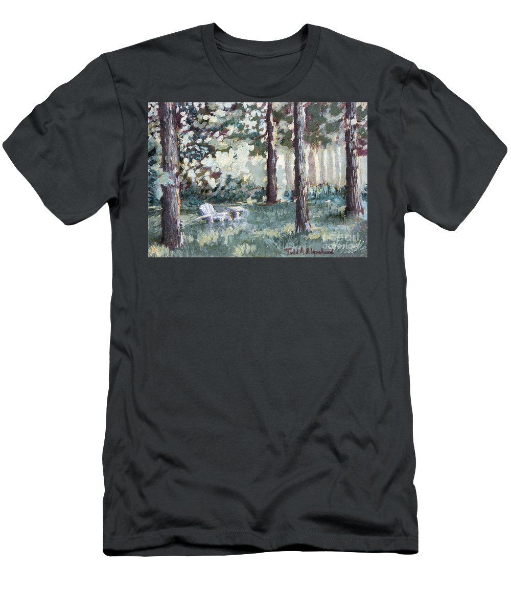 Landscape Men's T-Shirt (Athletic Fit) featuring the painting Quiet Place by Todd Blanchard