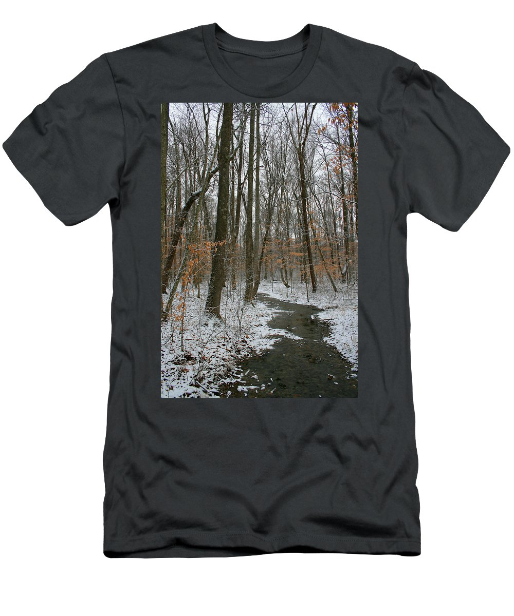 Forest Woods Water Winter Tree Snow Cold Season Nature Men's T-Shirt (Athletic Fit) featuring the photograph Quite Path by Andrei Shliakhau