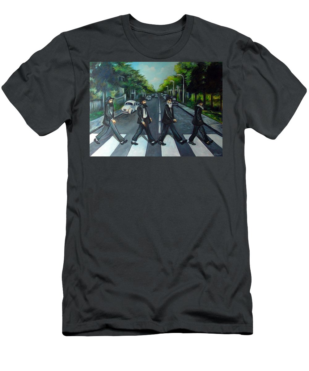 Surreal Men's T-Shirt (Athletic Fit) featuring the painting Rabbi Road by Valerie Vescovi