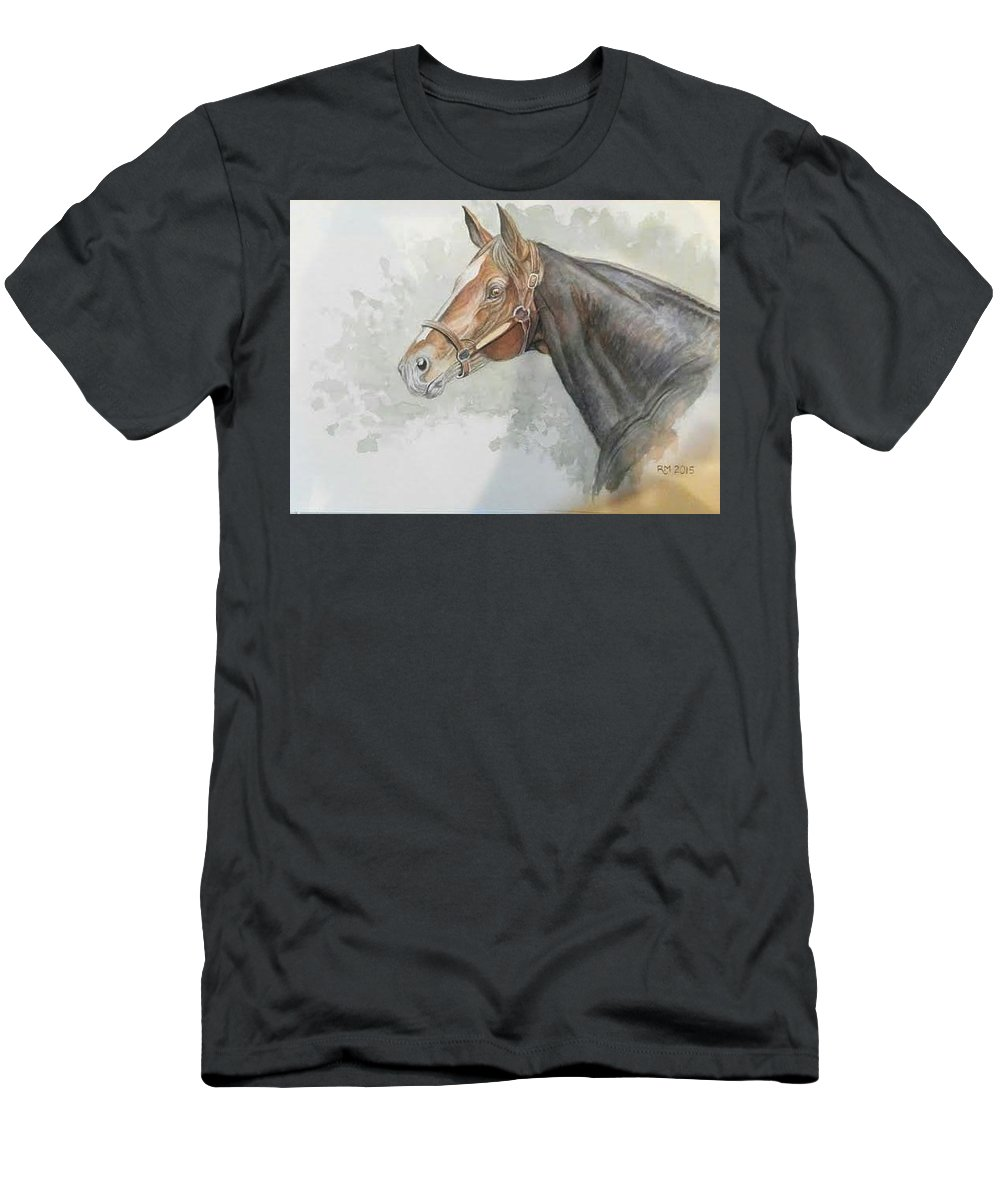 Race Horse Men's T-Shirt (Athletic Fit) featuring the painting Race Horse Study 1 by Ramesh Mahalingam
