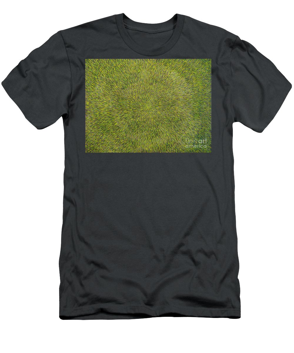 Abstract Men's T-Shirt (Athletic Fit) featuring the painting Radiation With Green With Yellow by Dean Triolo