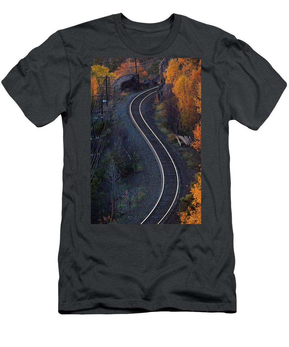 Rails Men's T-Shirt (Athletic Fit) featuring the photograph Rails by Doug Gibbons
