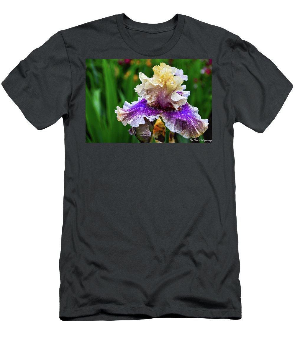 Green Leaves Men's T-Shirt (Athletic Fit) featuring the photograph Rain Coated Multi Colored Iris by Soni Macy