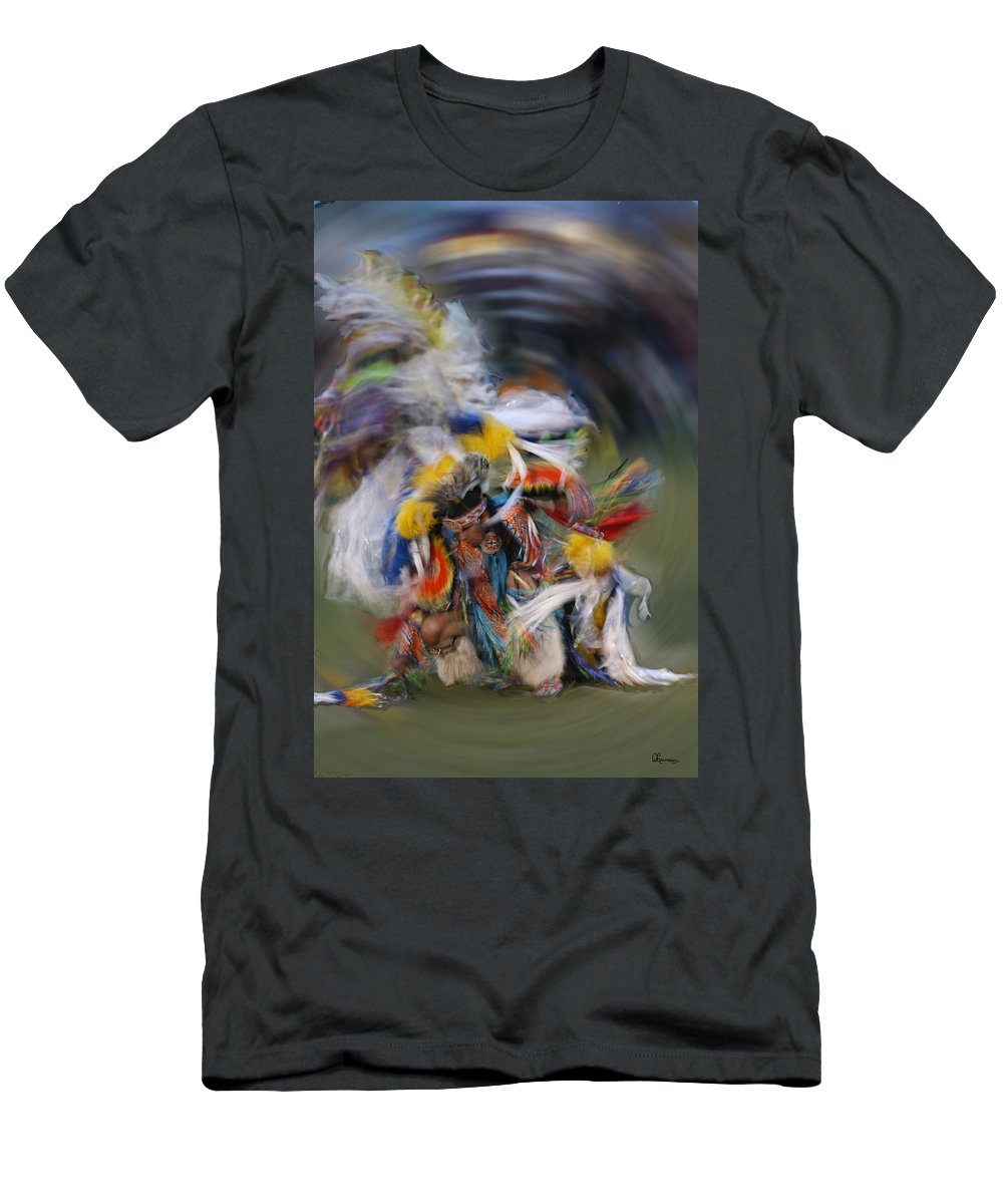 Native Rain Dancer Pow-wow Gordon First Nation Saskatchewan Indian Costume Dancing Feathers Color Colour Beads Head Dress Men's T-Shirt (Athletic Fit) featuring the photograph Rain Dancer by Andrea Lawrence