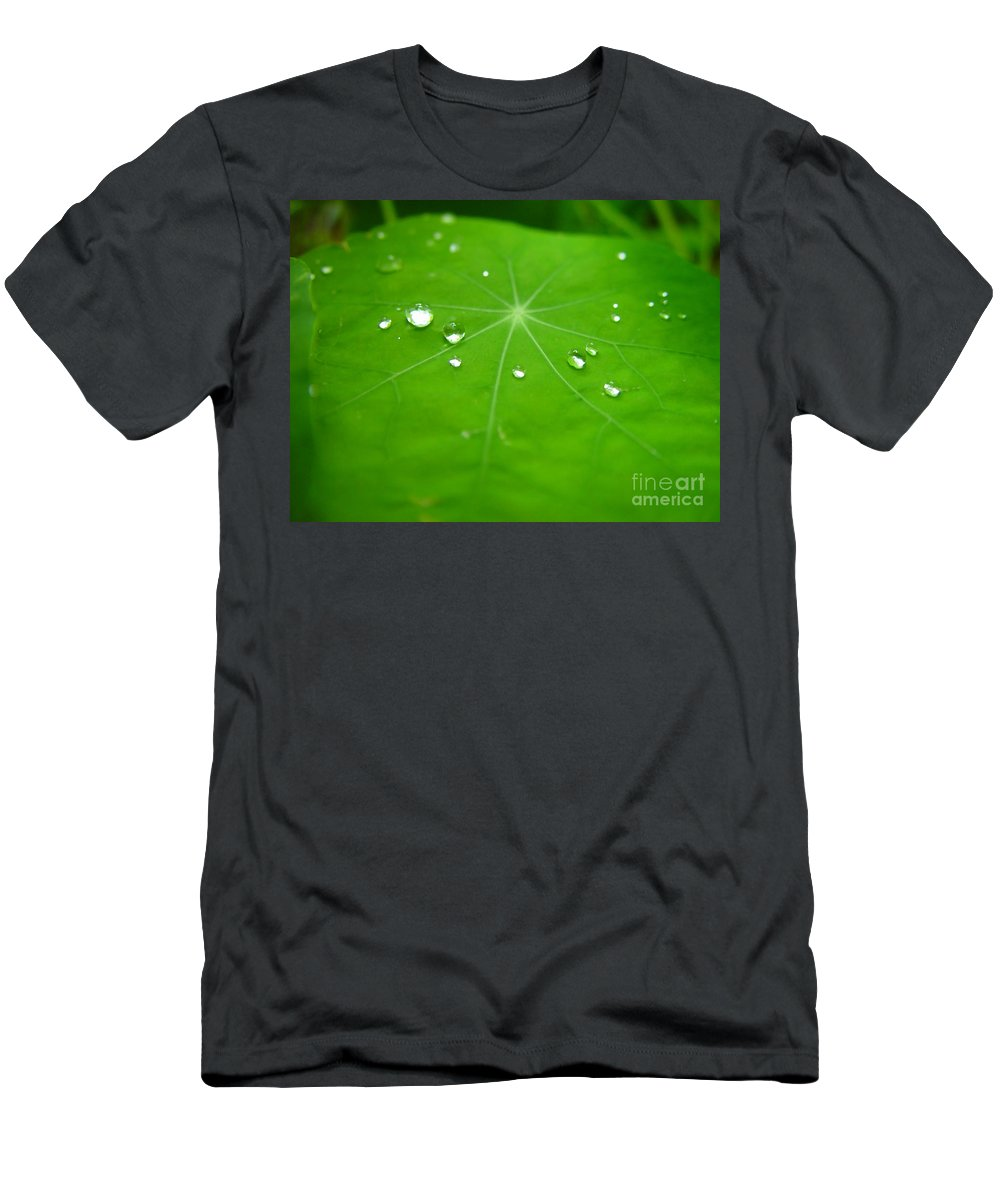 Rain Drops On Leaf Men's T-Shirt (Athletic Fit) featuring the painting Rain Drops On Leaf by R Muirhead Art